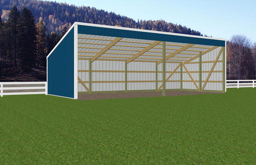 15 39 w x 36 39 l x 7 39 h open sided shed at menards for Open pole barn