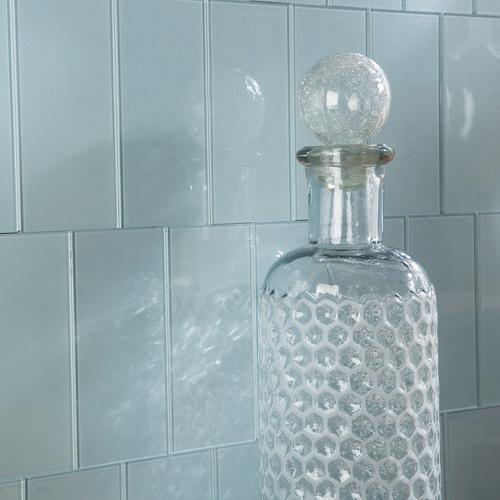 aspect 3 x 6 glacier glass peel stick backsplash tiles