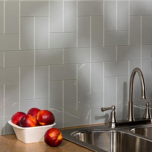 aspect 3 x 6 steel glass peel stick backsplash tiles 8 pc