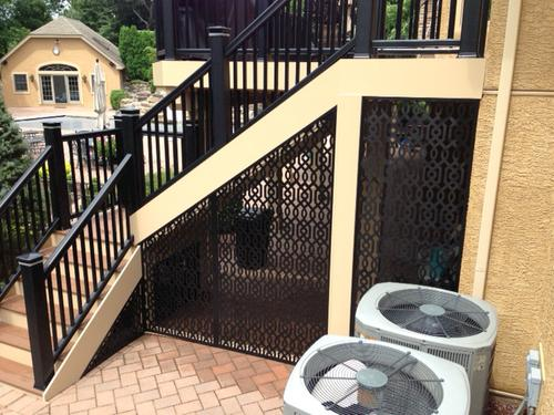 Acurio latticeworks azzaria decorative vinyl privacy for Lattice privacy panels for decks