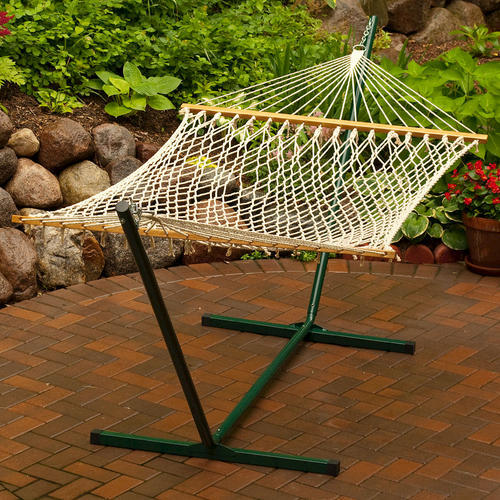 Backyard creations single size cotton rope hammock with for Rope hammock plans