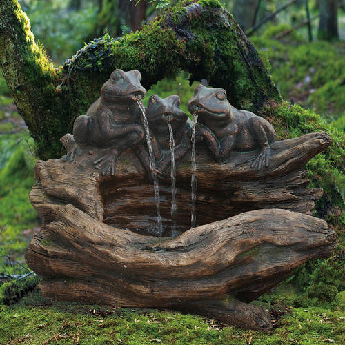 Frogs With Tree Stump Fountain At Menards