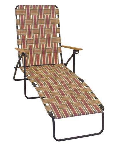 deluxe folding web chaise lounge with wood arms at menards