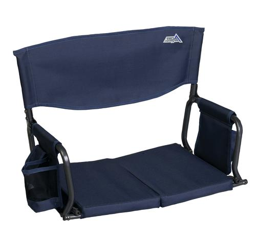 Blue Folding Stadium Arm Chair with Cup Holder at Menards