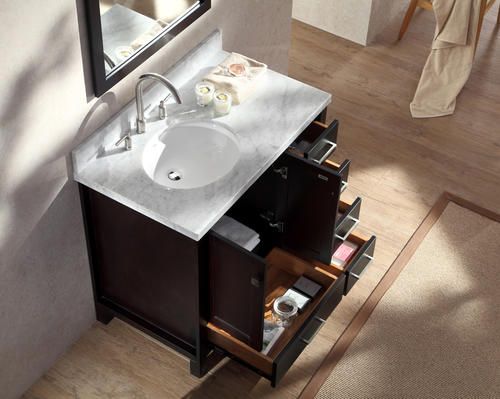 Ariel cambridge 37 single sink vanity set w left offset - Menards bathroom vanities 48 inches ...