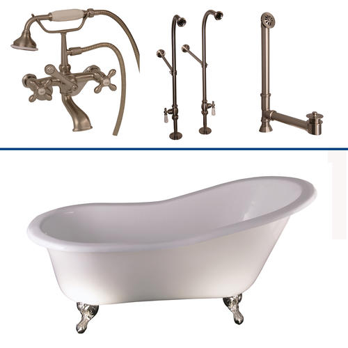 Barclay Tub Kit 60 Cast Iron Slipper Tub With Tub Filler