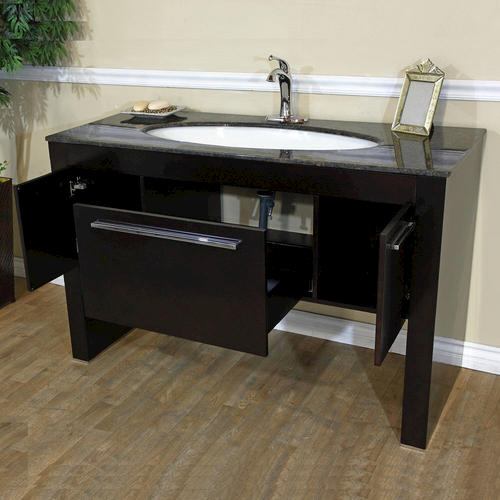 55 3 Single Sink Vanity Dark Walnut Tan Brown Marble At Menards