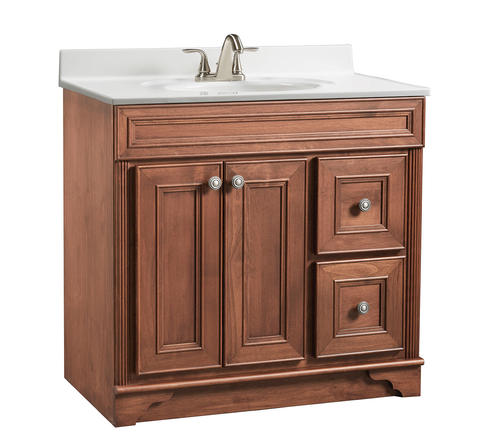 Briarwood 36 w x 21 d x 34 1 2 h highland vanity sink drawers right at menards for Menards bathroom vanities and cabinets