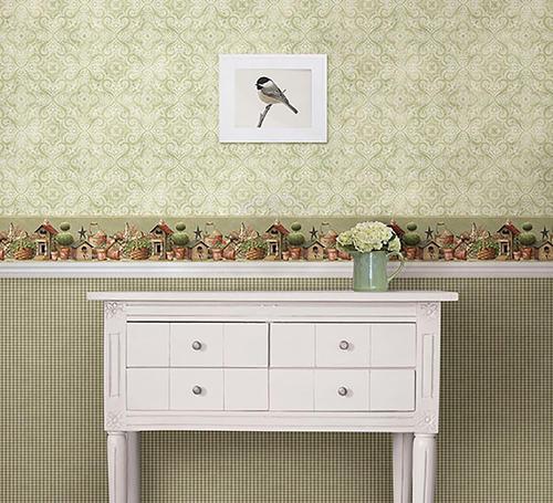 Shandi green bird hill wallpaper border at menards - Paintable wallpaper menards ...