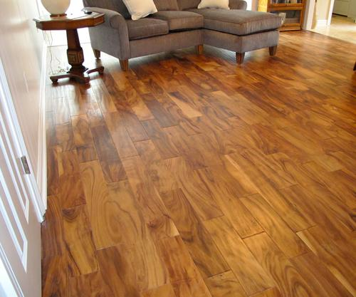 Natural acacia engineered hardwood flooring 3 8 x 5 25 for Hardwood floors menards