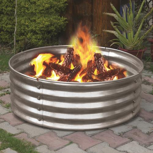 In Galvanized Round Fire Pit Ring