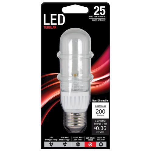 feit 3 watt non dimmable led t10 tubular 3 000k light bulb. Black Bedroom Furniture Sets. Home Design Ideas