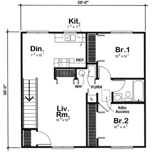 Two bedroom apartment garage building plans only at menards for Garage apartment floor plans 2 bedrooms