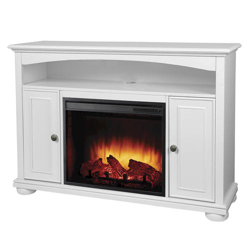 Easton Bleached Linen Media Electric Fireplace With Remote At Menards