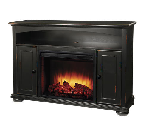 Easton Aged Black Media Electric Fireplace With Remote At Menards