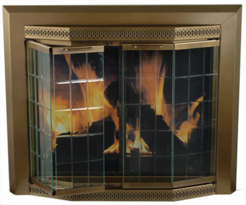 Large Bay Doors : Grandior bay large bi fold style fireplace door at