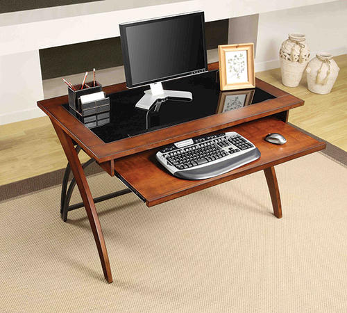 whalen 48 brown cherry finish genesis glass top writing desk at menards. Black Bedroom Furniture Sets. Home Design Ideas