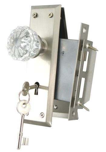 Full Body Mortise Lock With Glass Knobs And Satin Nickel