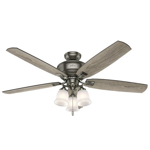 """Hunter Millican 58"""" Antique Pewter Ceiling Fan With Light"""