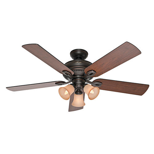 "Hunter Baybrook 52"" Onyx Bengal Damp-Rated Ceiling Fan At"