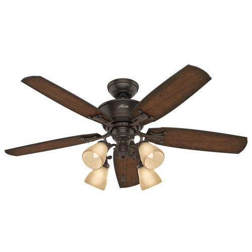 "Hunter Turlington 52"" Onyx Bengal Ceiling Fan With Light"