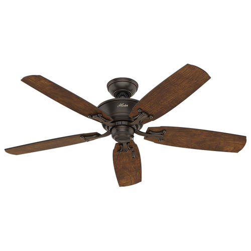 """52 Onyx Bengal 4 Light Ceiling Fan With Light Kit: Hunter Turlington 52"""" Onyx Bengal Ceiling Fan With Light"""