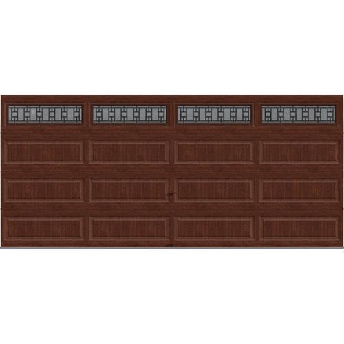 Ideal door 16 ft x 7 ft 5 star cherry finish trenton for 16 ft x 7 ft garage door