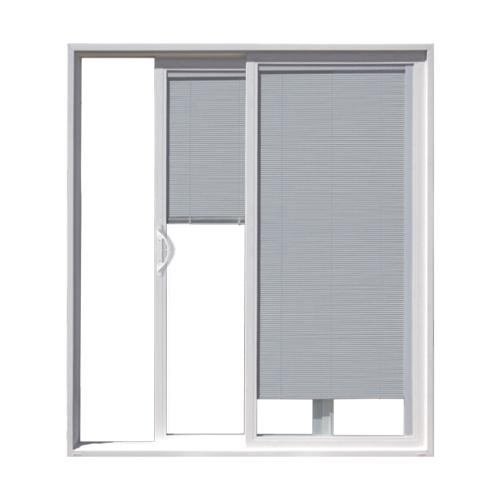 JELD WEN Builders Series White Vinyl Left Hand Sliding Patio Door W Blinds In