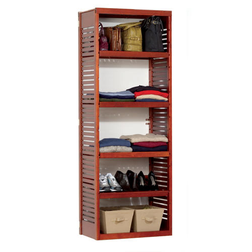 12in deep stand alone tower with adjustable shelves red. Black Bedroom Furniture Sets. Home Design Ideas