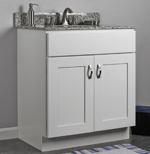 Jsi 30 rta white painted shaker style 2 door vanity at menards for Unfinished bathroom vanities menards