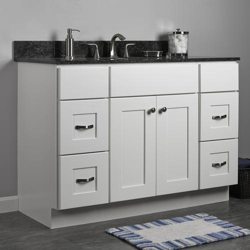 Jsi 48 rta white painted shaker style vanity with 4 - Menards bathroom vanities 48 inches ...