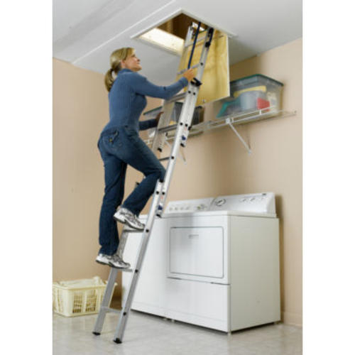 Small Aluminum Ladder : Compact small spaces aluminum attic ladder at menards