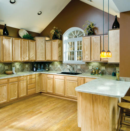 Kitchen kompact chadwood 12b oak base cabinet at menards for Kitchen cabinets menards