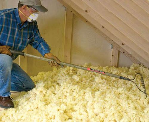 Insulmax shake and rake loose fill fiberglass insulation for Loose fill fiberglass insulation