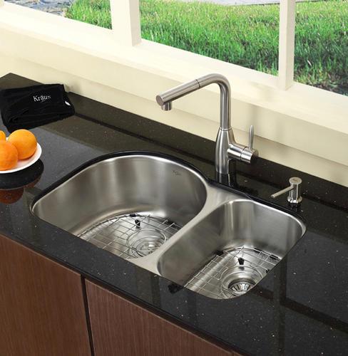 Kraus 30 Stainless Steel Undermount 60 40 Double Bowl 16 Gauge Kitchen Sink At Menards
