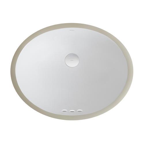 Elavo white ceramic small oval undermount bathroom sink w overflow