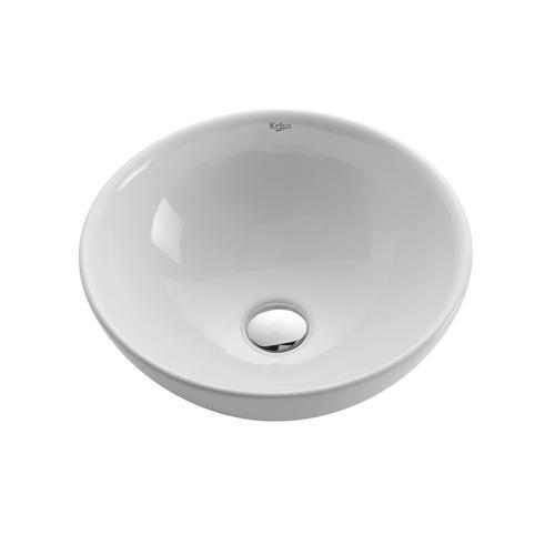 Kraus White Round Ceramic Bathroom Sink At Menards