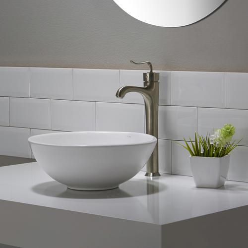 Elavo? White Ceramic Small Round Vessel Bathroom Sink at Menards?