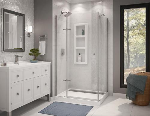 athena 42 x 34 corner door and base shower kit at menards. Black Bedroom Furniture Sets. Home Design Ideas