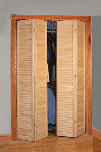 designer 39 s image 24 x 80 pine unfinished full louvered 2 leaf bifold door at menards. Black Bedroom Furniture Sets. Home Design Ideas