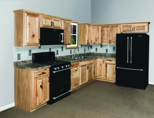 Value choice 19 39 l thunderbay hickory kitchen cabinets for Kitchen cabinets menards