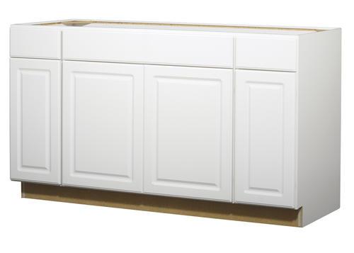 Value choice 60 ontario white standard 4 door sink base cabinet at menards - Menards white kitchen cabinets ...