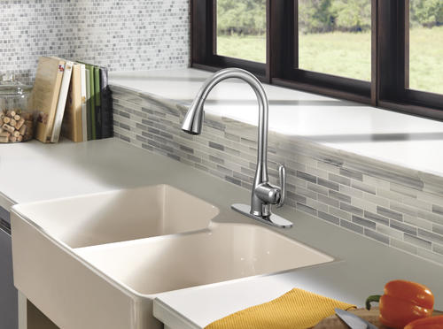 moen haysfield one handle pull down kitchen faucet with reflex at rh menards com Moen MotionSense Kitchen Faucet Moen Kitchen Faucet Repair