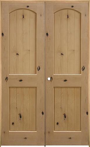 mastercraft knotty alder arch plank raised 2 panel prehung interior door at menards. Black Bedroom Furniture Sets. Home Design Ideas
