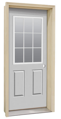 Commander c 4 primed steel 9 lite prehung ext door at for Mastercraft storm doors