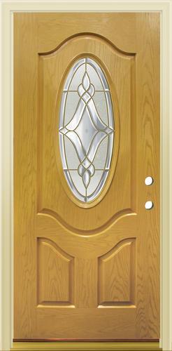 Mastercraft Lu 930 Golden Oak Fiberglass 3 4 Oval Prehung Ext Door At Menards