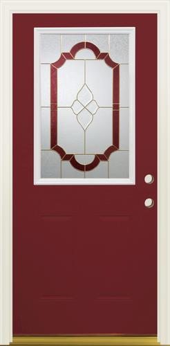 Mastercraft W 936 Steel Brass Lite Prefinished Prehung Ext Door At Menards