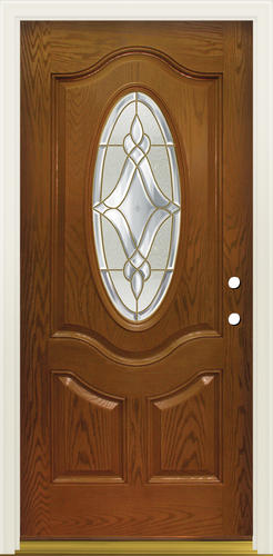 Mastercraft Lu 930 3 4 Oval Prefinished Fiberglass Prehung Ext Door At Menards