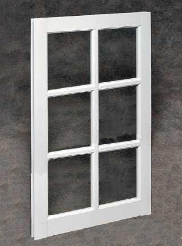 White Vinyl Divided Lite Barn Sash With Single Pane Glass