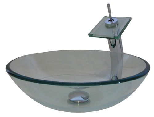Novatto Clear Glass Vessel Sink With Matching Chrome